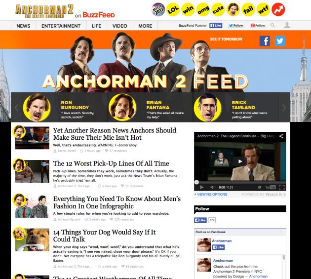 Buzzfeed Anchorman 2 feed