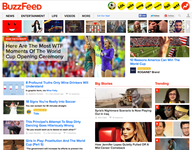 Buzzfeed Homepage