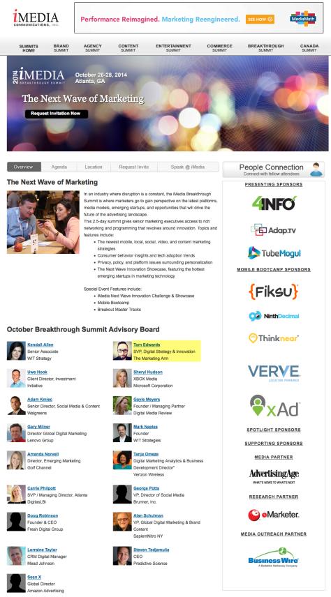 iMedia Breakthrough Summit, October 2014 - Overview