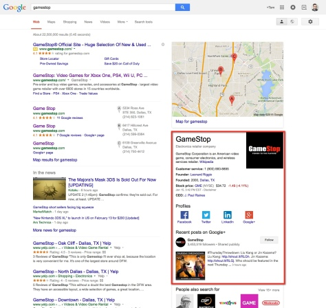 GameStop Social Search