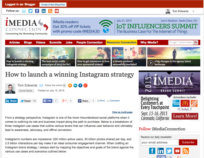 iMedia Instagram Strategy Cover Story