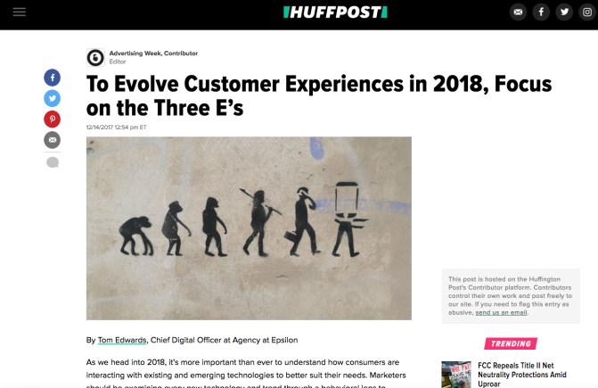 In The News: HuffPost & Adweek The Evolution of Experience